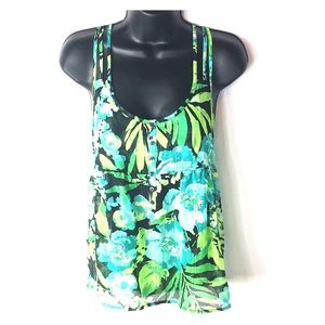 Aeropostale Top S Floral Sheer Strappy *A